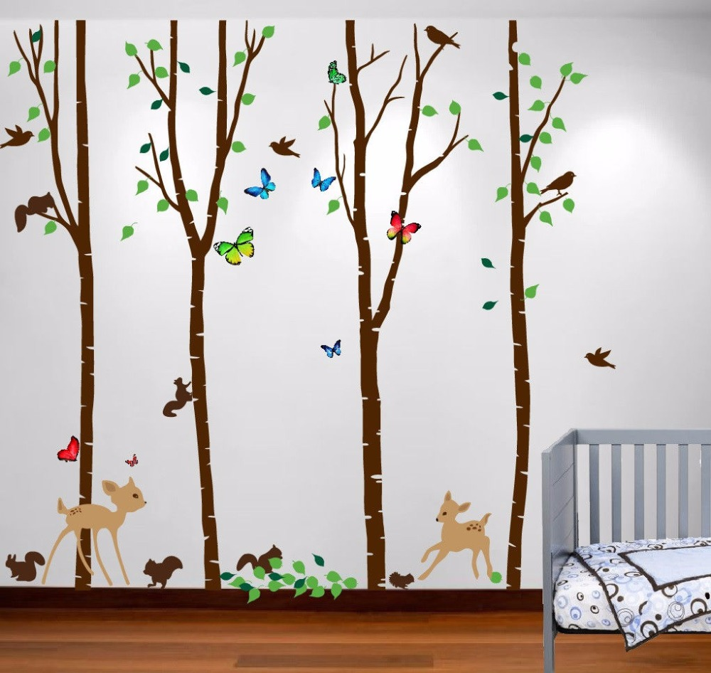 2016 NEW Names Birch Tree Forest Set Large Wall Decal Deer Birds Bambi  Squirrels Butterflies H108in