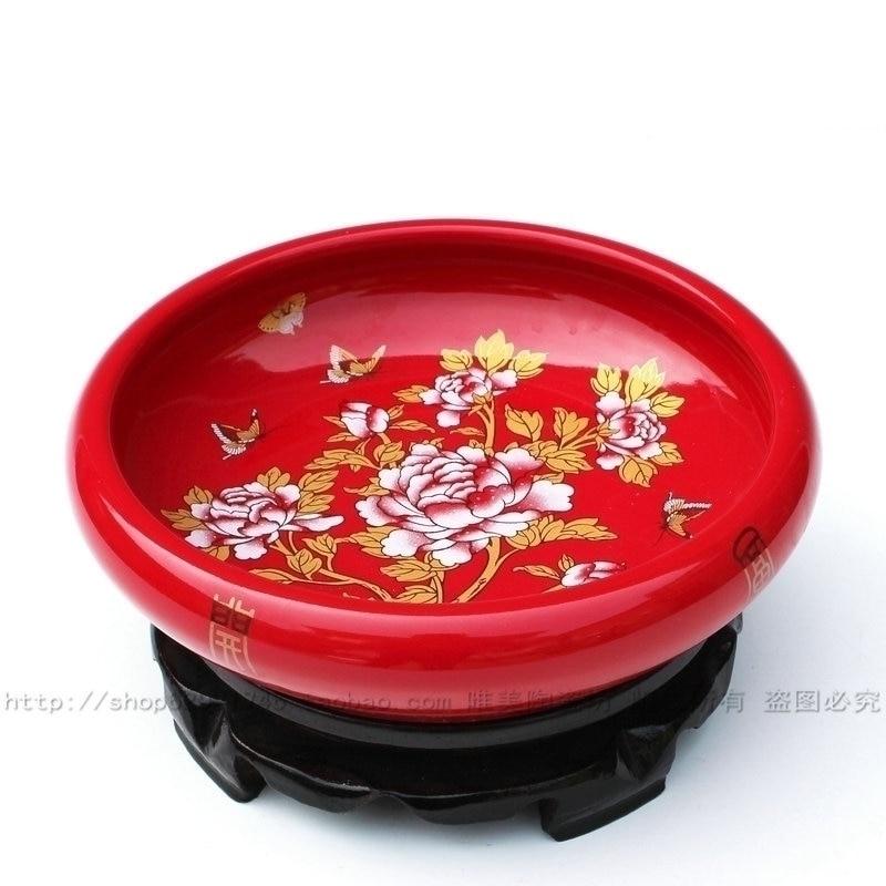 Jingdezhen ceramic red ceramic brush washer nelumbo nucifera basin narcissus basin home
