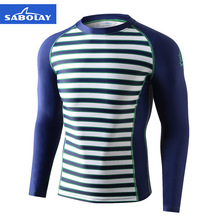 SABOLAY Men's Swimsuit Rashguard Sun Protection Swimwear Anti-UV Striped Long Sleeve Surfing Shirt Top Rash Guards Swimming Suit