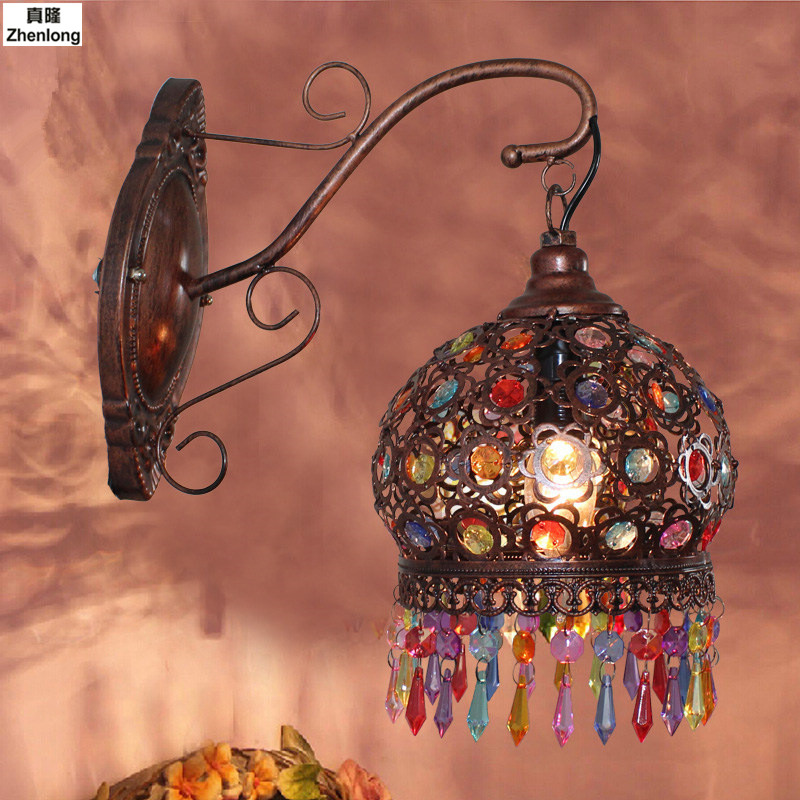 18CM Bohemian Style Red Bronze/Colour Crystal LED Wall lamp Vintage Wall Light Cafe Bar Store Hall Club Coffee Shop Lighting vintage edison metal chandelier hanging light black silver gold finish ceiling lamp for cafe bar hall coffee shop club store