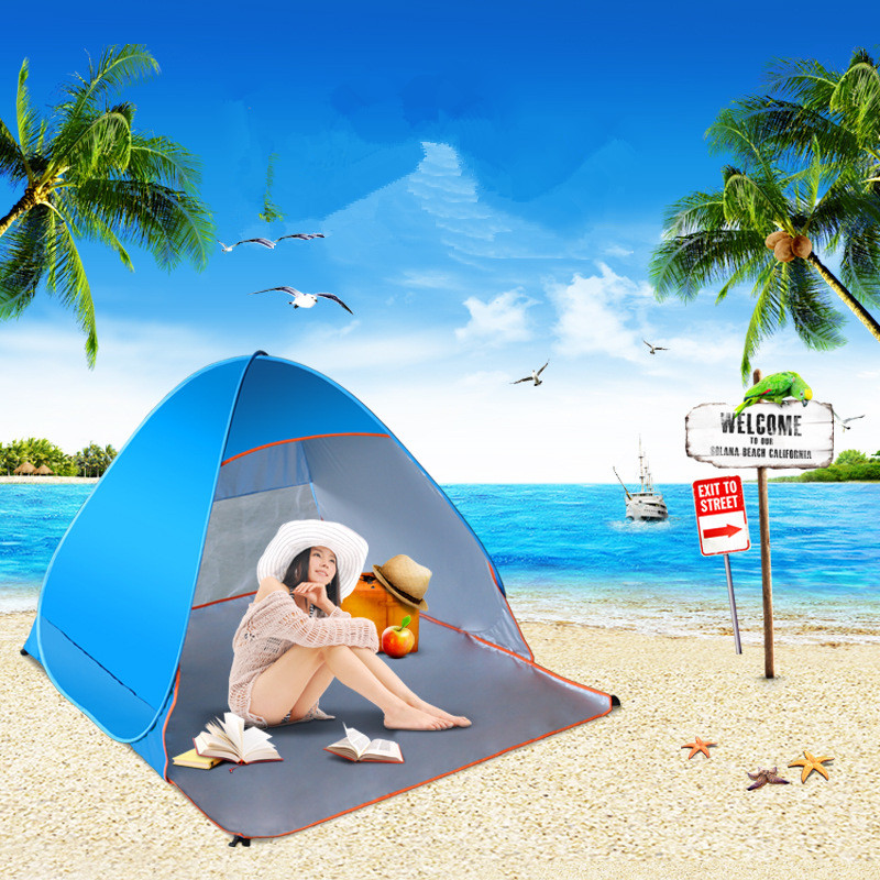 ФОТО Outdoor Full automatic beach tent Anti Ultraviolet Ray Waterproof for Fishing Picnic Field Survival