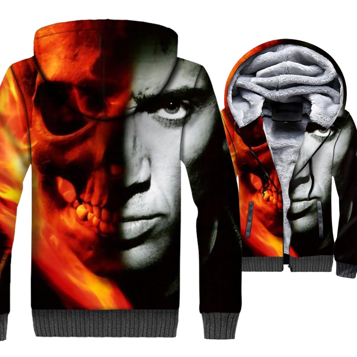 Ghost Rider Skull Jacket Men 3D Print Hoodies Hip-Hop Sweatshirt 2018 New Winter Thick Fleece Warm Zipper Gothic Skeleton Coat