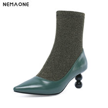 NemaoNe 2018 new ankle boots women genuine leather slip on Stretch socks boots poinrd toe high heels autumn winter shoes woman