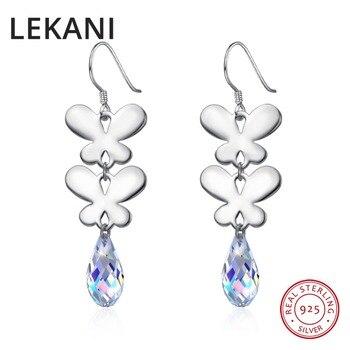 3d26ea58434b LEKANI cristales originales de perlas de SWAROVSKI pendientes de gota S925  plata mariposa pendientes largos colgantes para mujer Regalos de fiesta
