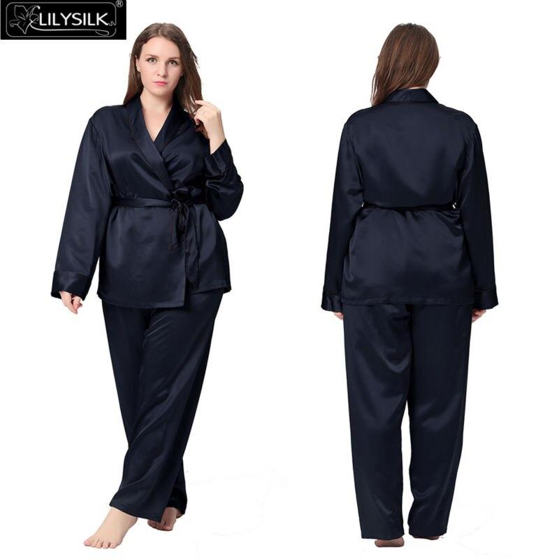 4d5fb4913baa Lilysilk 100% Silk Pyjamas for Women Plus Size 22 Momme Long ...