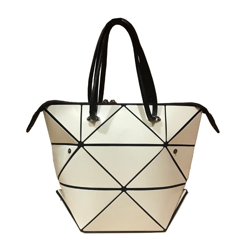 Hot Fashion Women Collapsible Laser BaoBao Geometry Handbag Female Folding Tote Diamond Geometry Handbag with a Scarve