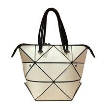 Hot Fashion Frauen Faltbare Laser BaoBao Geometrie Handtasche Weiblichen Folding Tote Diamant Geometrie Handtasche mit einem Scarve