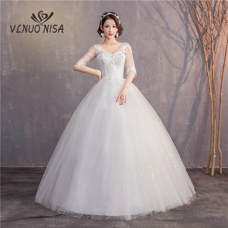 Red And White Wedding Dresses With Sleeves: 2019 New Elegant White Red Wedding Dress Sexy V Neck Half