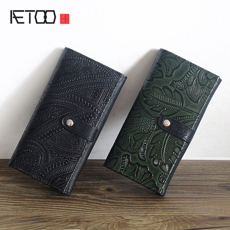 AETOO Retro national Vintage walle leather long section ladies purse first layer cowhide original relief pattern womens handbag