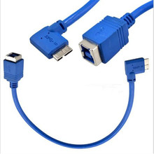 USB 3.0 cable MICRO male elbow to B mother data 30cm used in hard disk box printer scanner, etc.