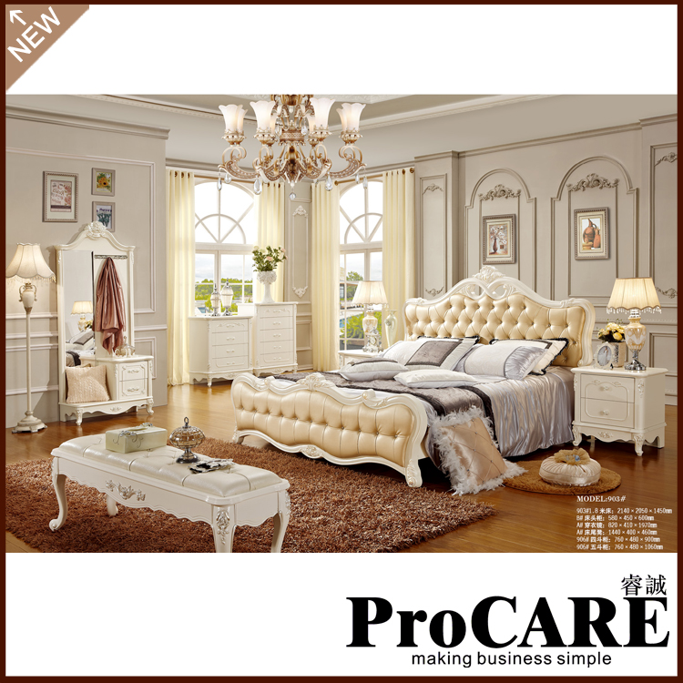 New arrival luxury marriage bed solid wood princess bed bedroom furniture  sets