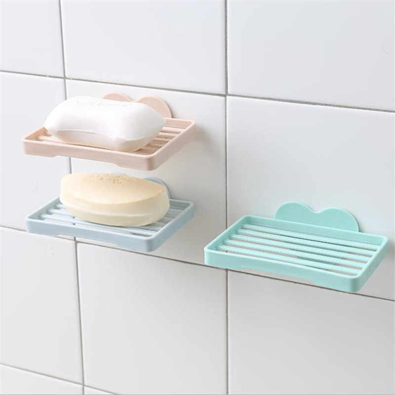 Najnowszy prysznic mydło pudełko przechowywania taca tacka przypadku mydelniczka łazienka taca akcesoria pole półki ścienne krótkie