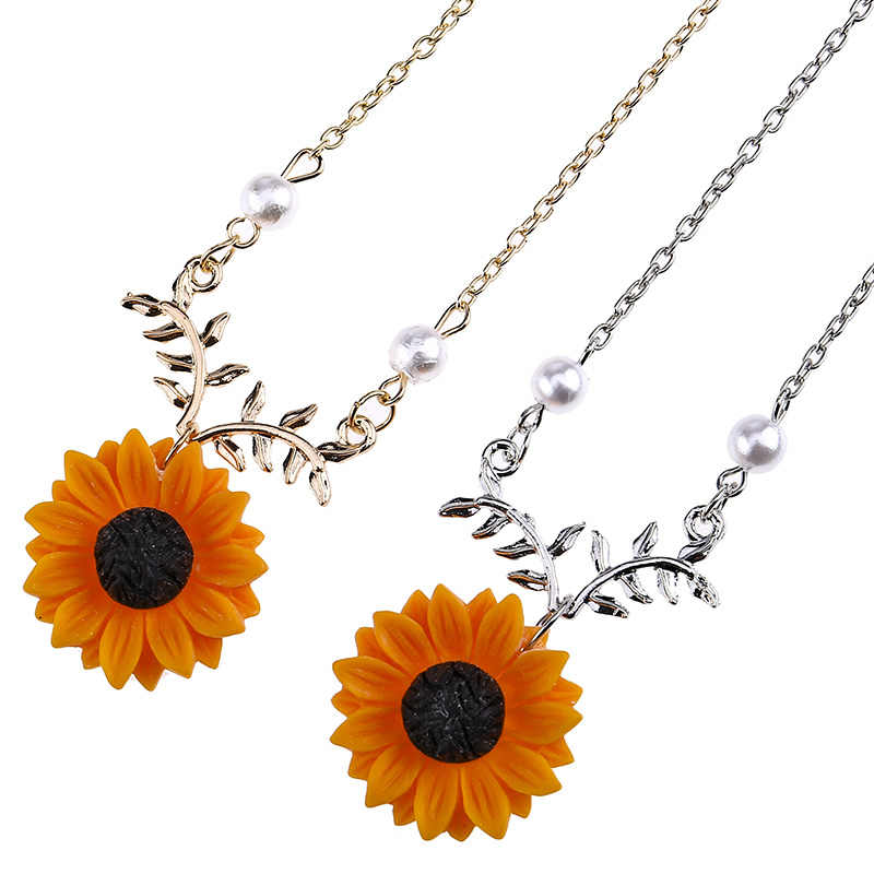61e6b051689d9 New Cute Sunflower Leaf Branch Pendant Women Clavicle Necklace Jewelry  Birthday Gift
