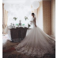 Amazing Charming Wedding Dress Lace Appliques Tulle Bridal Wedding Gowns Long Sleeve Jewel Wedding Dress 2016 Z011