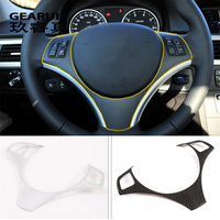 Car Styling Carbon fiber Steering Wheel buttons Covers Stickers Trim for BMW 3 series E90 2005 2012 lnterior Auto Accessories
