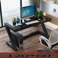 Простые современные закаленное стекло Настольный компьютер домашний стол сделать простой стол