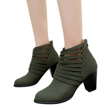 YOUYEDIAN Vitage Women Autumn Shoes Zipper Ankle Round Toe Rome Short Boots Single Shoes ankle boots for women heel#L4(China)