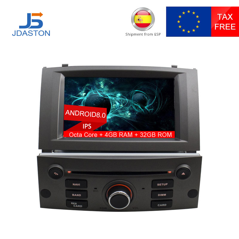 JDASTON Octa Cores 7 Inch 1 Din Android 8.0 Car DVD Player For PEUGEOT 407 Wifi GPS Navigation Radio Multimedia 4G+32G Stereo SD ljda 2 din android 7 1 car dvd player for hyundai santa fe elantra wifi gps radio autoaudio stereo multimedia 2g 16g quad cores
