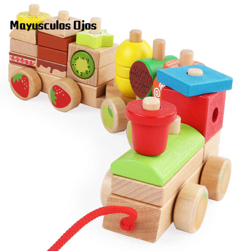 1PC Wooden Children Early Education Trailer Blocks 1-3 Years Old Fruit Train Set Puzzle Power Drag Toy