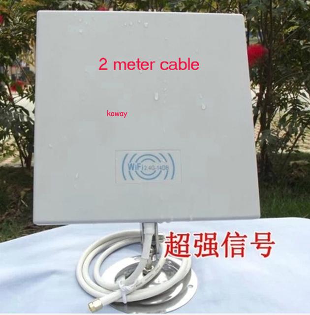 14dB 2.4 GMHz sem fio WLAN Outdoor antena painel com 2 metro 1 pçs/lote