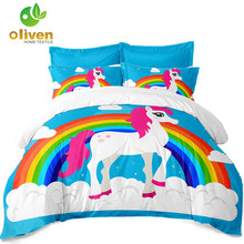 Kids Unicorn Bedding Set Blue Cartoon Duvet Cover Set Colorful Rainbow Castle Print Bedding Cover Twin Full Queen King Size D49 star print full over bedding set