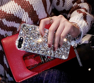 Image 3 - LaMaDiaa lüks Bling 3D mücevherli elmas yumuşak arka kolye telefon kılıfı kapak için Samsung S7 S8 S9 S10 S20 artı not 5 8 9 10 20