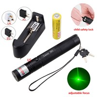 18650 Rechargeable 650nm Laser Pointer Pen Adjustable Focus Green/Red/Purple Laser Light Flashlight For Powerpoint Meeting