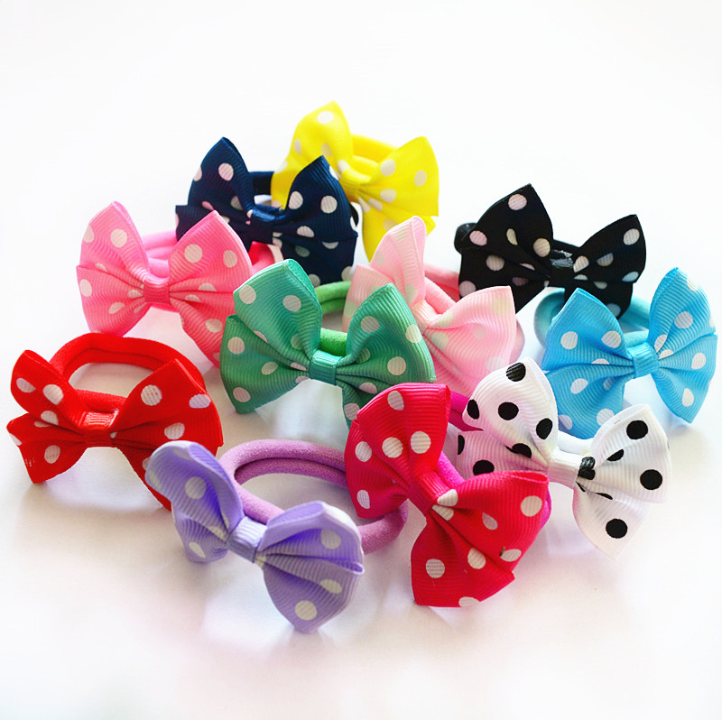 10 Pcs/set Dot Spot Printing Color Girls Bow Hair Ties Elastic Bands Kids Accessories Pt027 Girl's Accessories