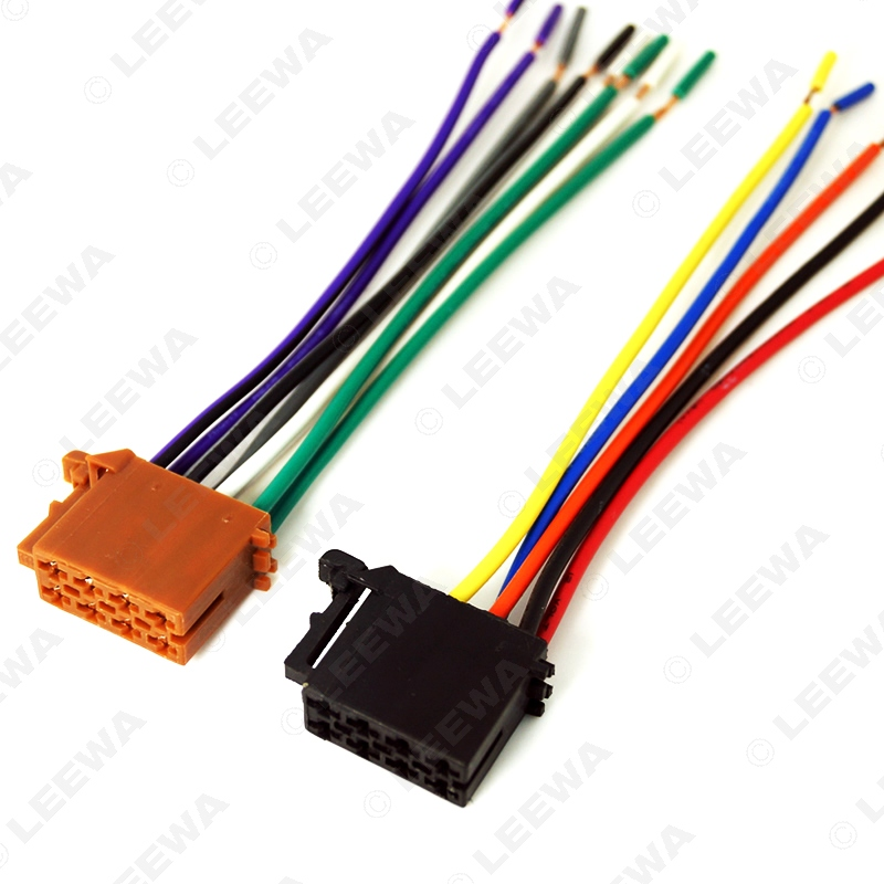 LEEWA Universal Male ISO Radio Wire Cable Wiring Harness Car Stereo