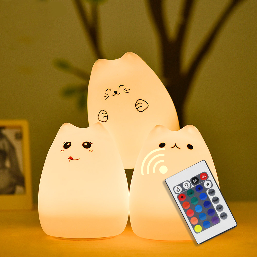 Touch Sensor Colorful Cat LED Night Light Remote Control Dimmable USB Rechargeable Cartoon Silicone Lamp for Children Kids Baby