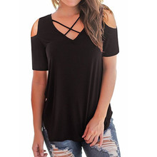 Summer Women T Shirts Short Sleeve V-Neck Casual T-Shirt Cold Shoulder Tops Tee Ladies Solid Criss Cross Tee Shirt Chemise Femme two tone crisscross cold shoulder tee