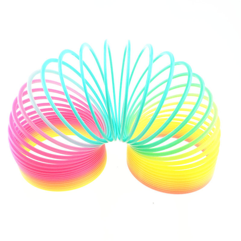 Gags & Practical Jokes Big Size 10cm Kids Magic Plastic Rainbow Spring Colorful Children Circle Coil Elastic Ring For Christmas Birthday Gifts Novelty & Gag Toys