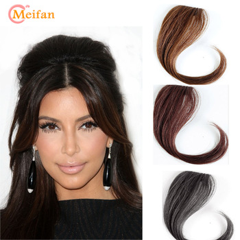 MEIFAN 25-35CM Natural Hairpin in Bangs Front Side Bangs Fake Fringe Hair for Women Synthetic Clip In Bangs Hair Extensions 1