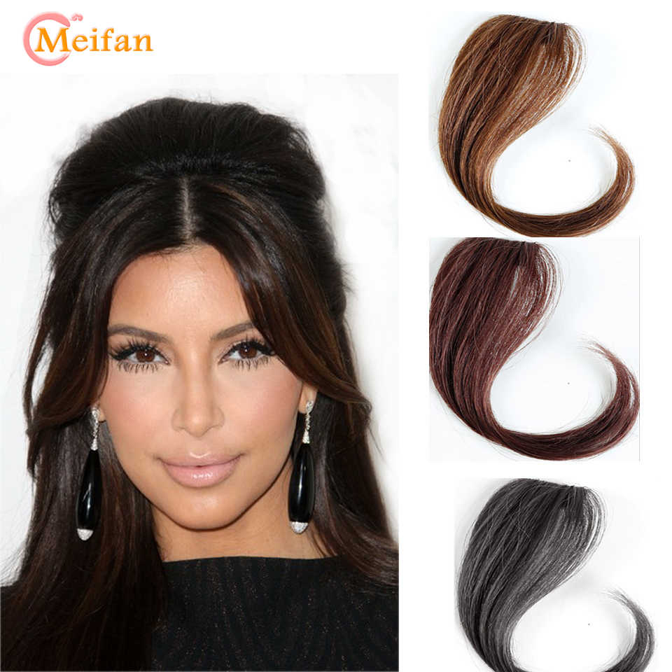 MEIFAN 25-35CM Natural Hairpin in Bangs Front Side Bangs Fake Fringe Hair for Women Synthetic Clip In Bangs Hair Extensions