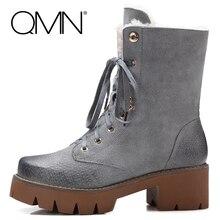 QMNแว็กซ์หนังแท้ผู้หญิงที่ข้อเท้าผู้หญิงรองเท้าแกะขนบู๊ทส์Lace Up Shhoesผู้หญิงฤดูหนาวทหารรบรองเท้าทำงาน