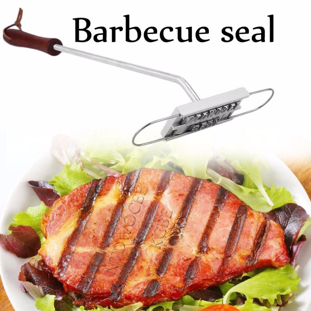 1 pc Stainless steel Barbecue Stamp Grill Letters grill fire mark Seal Stamping Mould BBQ Tools Cooking BBQ Accessories