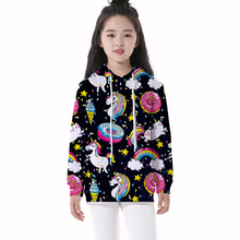 Domi Ketty kids baby hoodies print unicorn doughnut girls boys casual long sleeve sweatshirts children cartoon pullover clothing