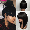 Bob Wig Full Lace Human Hair Wigs With Baby Hair Brazilian Lace Front Wigs With Bangs Short Glueless Lace Front Human Hair Wigs