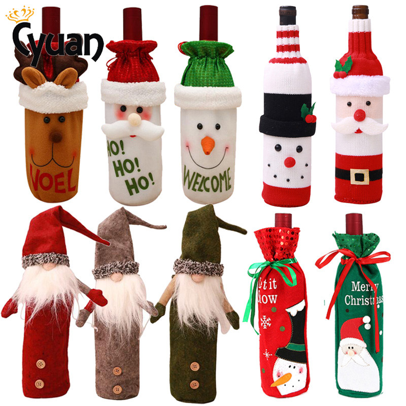 Christmas Decorations Santa Claus Wine Bottle Cover