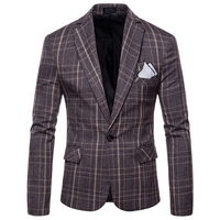 Casual Tweed Jacket Blazer Men Plus Size XXXL Vintage Plaid Blazer Masculino Slim Fit Mens Stage Wear Mens Jackets Suit 6X01