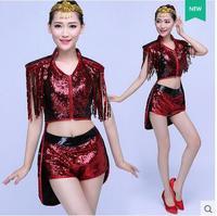 Sexy! Nightclub tuxedo ds performance clothing bar dj sequins suit adult female new modern dance costume jazz dance costumes