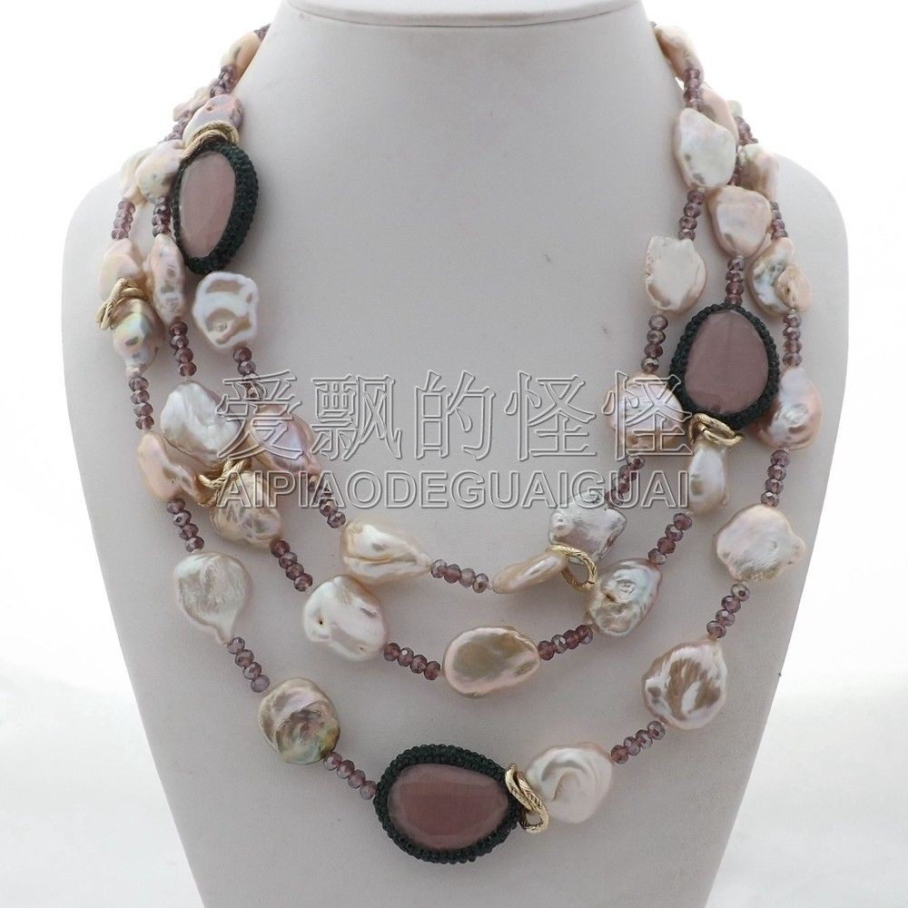 N112606 19 ''3 brins Keshi perle rose collier en cristal oeil de chat
