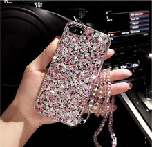 Funda de lujo con purpurina de diamante para HuaweiP9, P10, P20, P30, P40 PLUS Lite, Mate10, 20, 30 Lite, tipos de funda para diamantes de imitación, correa de cadena de cristal