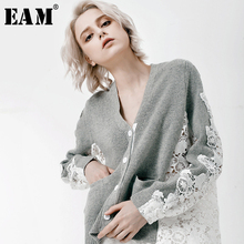 [EAM] 2019 New Spring Summer Fashion Tide Gray Patchwork Lace Long Sleeve Single Breasted V-neck Woman Shirt Blouse S626