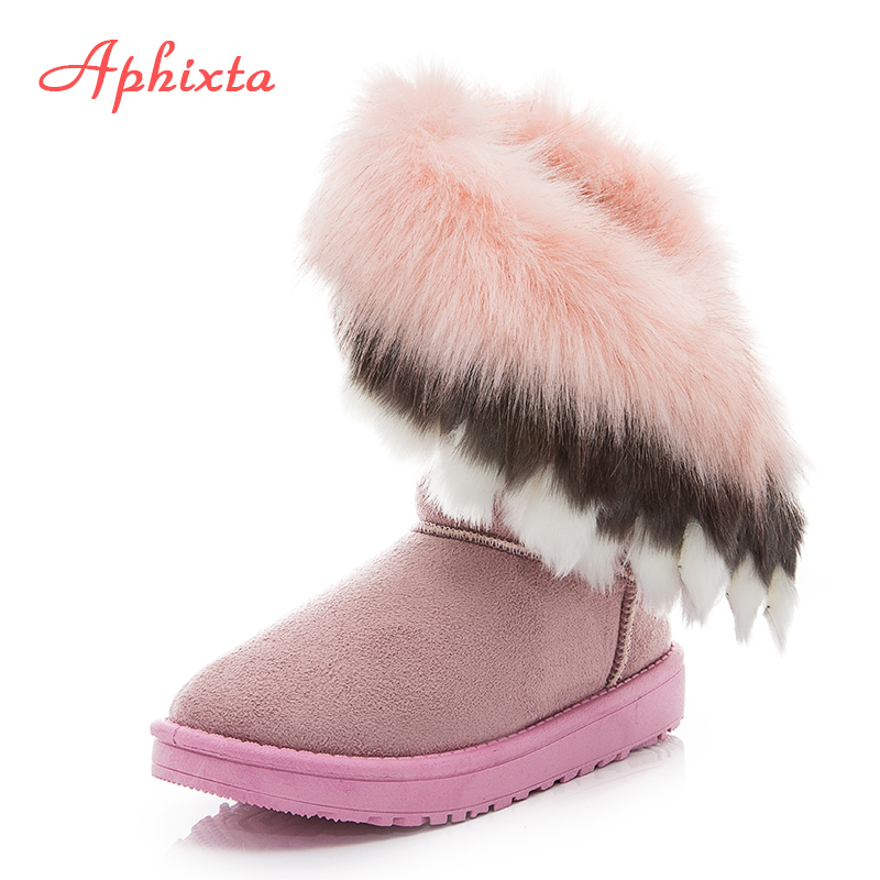 все цены на Aphixta Cow Suede leather Big Faux Fox Fur For Women Pink Winter Ankle Snow Boots Warm Fleeces Shoes Non-slip Sole Mujer Botas онлайн