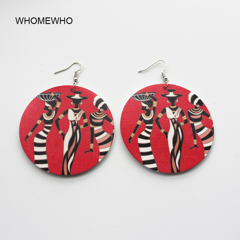 Laser Cut Unfinished Wood Printing Africa Dancing Girl Drop Earring Wooden Fashion African Hiphop Ethnic Jewelry Party Accessory