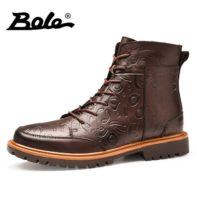 BOLE 38-47 Handmade Leather Men Snow Boots Winter New Lace Up Plus Plush Men Ankle Boots Keep Warm Low Heel Handsome Men Boots bole handmade leather men snow boots fashion designer lace up men ankle boots keep warm men casual shoes winter flats men boots