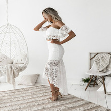 LaMaxPa The New Elegant Women Party Clothes 2019 Hot Sale Silm Lace Backless O-neck Sundress Summer Fashion Bodycon Runway Dress