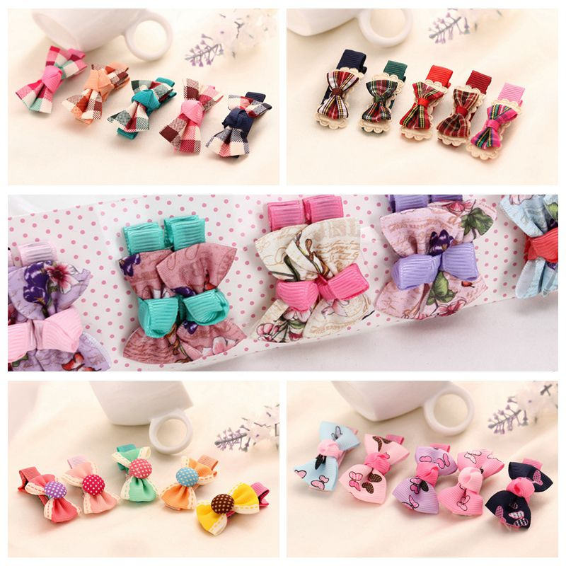 10pcs Baby Hair Clips Small Ribbon Bow Hairpins Baby Girls Hair Accessories Kids Children Boutique Headwear A71