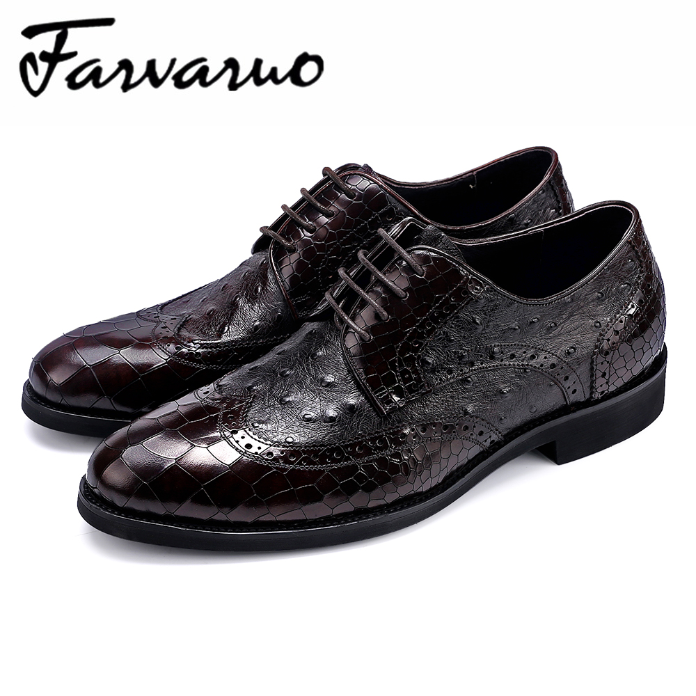 Farvarwo Men Oxfords Business Dress British Style Carved Genuine Leather Offical Shoes Mens Flats Lace-Up Gentleman Brogue Shoes цена